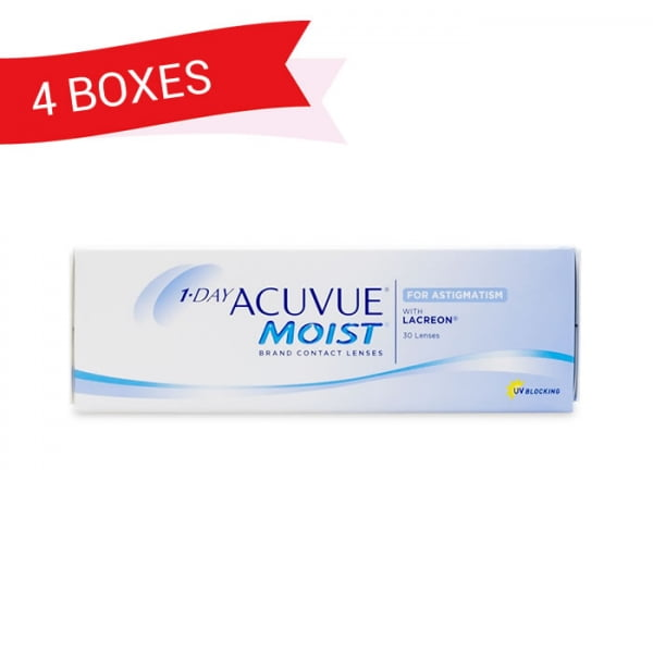 1-DAY ACUVUE MOIST FOR ASTIGMATISM (4 Boxes)